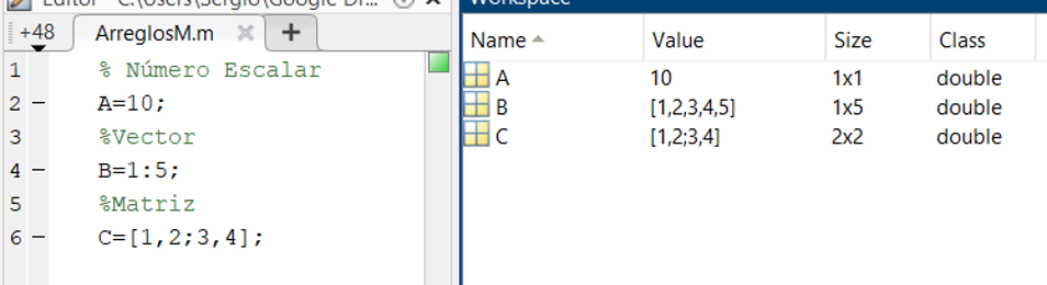 Tipo de Datos en Matlab