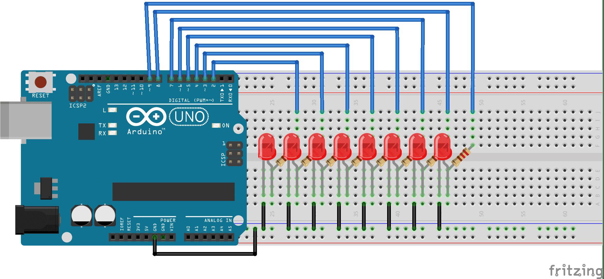 Secuencia de LEDS con ARDUINO